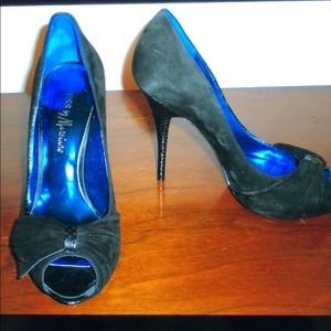 "Guess Marciano black suede Peep toe 5"" stiletto 10"